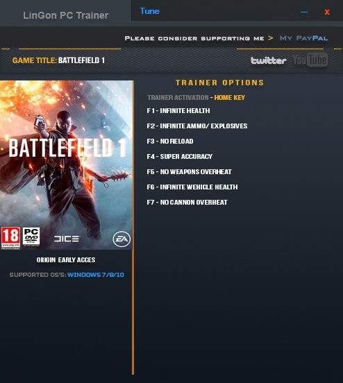 Battlefield 1: Трейнер/Trainer (+7) [Origin Early Acces] {LinGon}