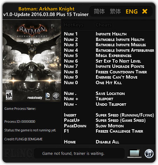 Batman: Arkham Knight: Трейнер/Trainer (+15) [1.0 - Update 08.03.2016] {FLiNG}